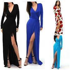 Long Sleeve Slit Dress Ebay
