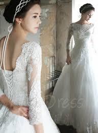a line bateau 3 4 sleeves lace wedding dress tbdress com