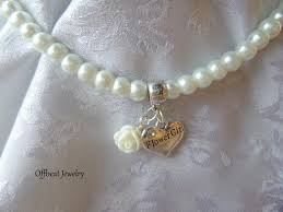 flower girl charms pearl necklace with flower girl charm pearl flower girl necklace