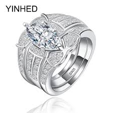 silver wedding ring sets yinhed luxury 3 rings set 925 sterling silver wedding rings for