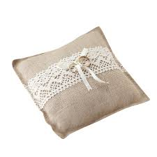 Hire Cushions For Wedding Chairs Uk Ginger Ray Vintage Rustic Hessian Wedding Ring Cushion Pillow