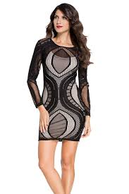 cheap black lace illusion long sleeves bodycon dress online