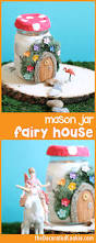 Garden Crafts For Kids - use air dry clay and mason jars to make a light up fairy garden