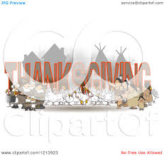 indians thanksgiving cartoon of turkey birds pilgrims and native american indians