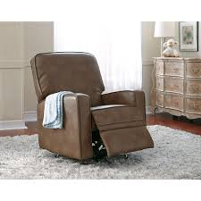 Gliders Rockers Sutton Leather 2 Piece Swivel Glider Recliner In Chestnut Brown