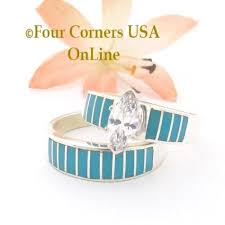 turquoise and wedding ring turquoise bridal engagement ring sets navajo wedding rings