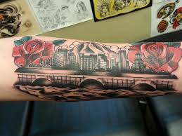 got a tattoo of the portland oregon skyline my home city done