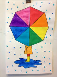 colour wheel umbrellas directed drawing painting raindrops are