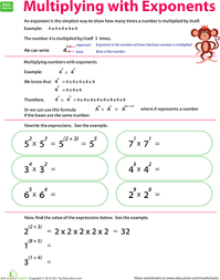 Of Exponents Worksheet Multiplying With Exponents Worksheet Education Com