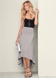 grey belted high low maxi skirt from venus