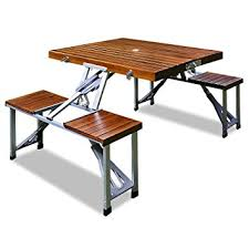 Wooden Folding Picnic Table Wooden Folding Cing Outdoor Picnic Table And Bench Stool Set
