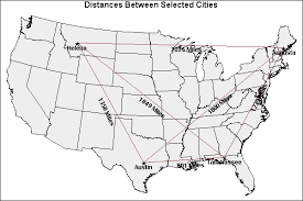 map usa driving distances transportation small array global positioning system