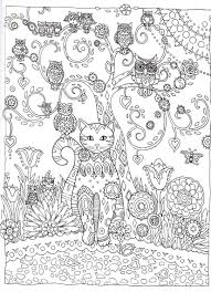 cat and owls abstract doodle zentangle zendoodle paisley coloring