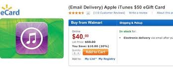 cheap gift cards free money walmart is selling 50 itunes gift cards for 40