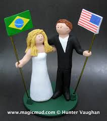 brazilian bride american groom wedding cake