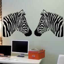 zebra heads wall vinyl decal sticker family kids room mural zoom