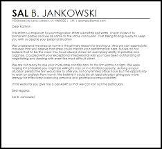 response to resignation letter resignation letters livecareer