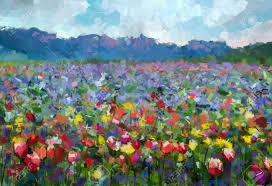 Paint Colorful - oil painting colorful spring summer rural landscape abstract