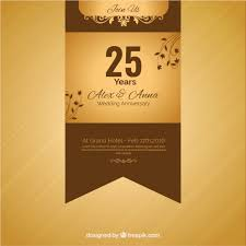 twenty fifth anniversary twenty fifth anniversary golden ribbon vector free