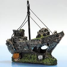 aquarium ornament wreck sailing boat sunk ship destroyer fish tank