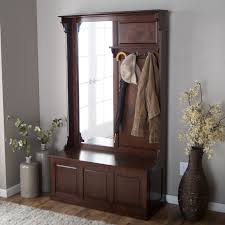 furniture wood entryway bench with storage and tall mirror smart
