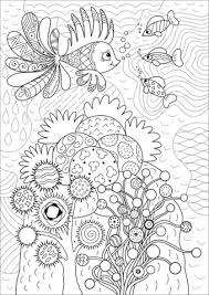 lionfish in coral reef coloring page free printable coloring pages
