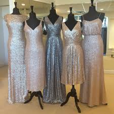 rose gold sequins for the bridesmaids and groomsmen in black tie