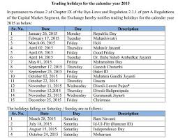 Market Holidays Trading Holidays For The Calendar Year 2015