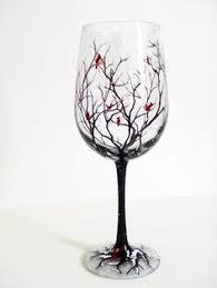 small 7 white wine glass painted by me with my original