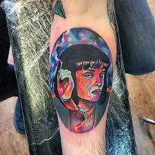 psychedelic style pulp fiction inspired tattoo on the