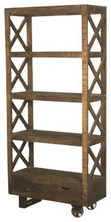 Bookcase With Drawers Industrial Tower Mango Wood Rolling 76