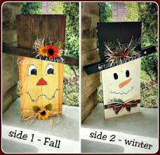 rustic snowcrow fall winter reversible decor scarecrow and