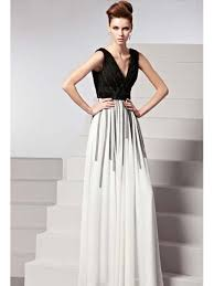 floor length black and white georgette evening gown deep v neck