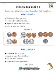 math money worksheets 1st grade money riddles