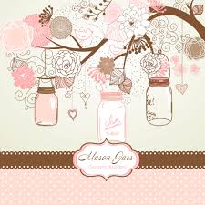 Marriage Invitation Card Templates Free Download Hand Drawn Mason Jars Card Template And Digital Papers Clip