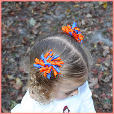 korker bows our 2 5 inch orange and blue korker hair bow is for your