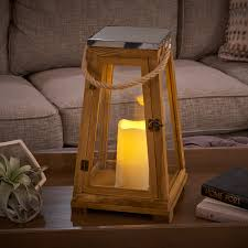 Outdoor Candle Lighting by Newport Candle Lantern Natural Wood Stainless Steel Top And