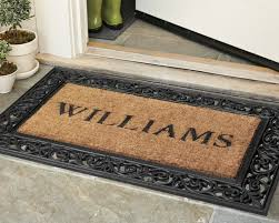 personalized rubber scroll coir doormats williams sonoma