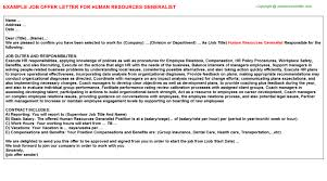 human resources generalist offer letter