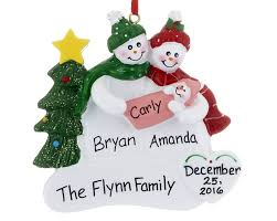 snowman with new baby personalized ornament