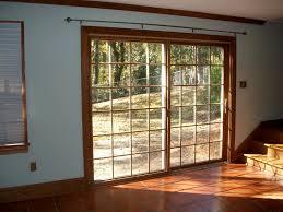 Patio Door Venetian Blinds Dark Brown Wooden Frame For Glas Patio Door Using Khaki Drappery