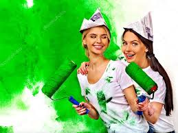 women paint wall u2014 stock photo poznyakov 52110271