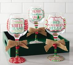 christmas glasses southern christmas wine glasses by mud pie hula island
