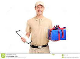 gift delivery a delivery person delivering a big gift box royalty free stock