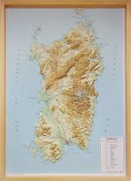 Map Of Sardinia Italy by Raised Relief Map Of Sardinia As 3d Map