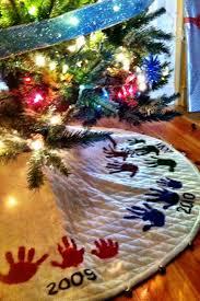 diy the christmas tree skirt made up of handprints u0026 memories