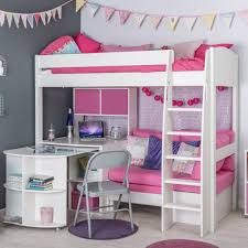High Sleeper Beds With Sofa by Stompa Unos Highsleeper With Pink Sofa Fixed Desk Storage Cube