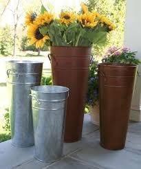 Galvanised Vases French Buckets Flower Market Bucket Galvanized Florist Pail