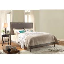 normandy platform bed with metal frame and steel gray upholstered