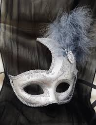 silver masks half masquerade mask all silver with grey feathers mardi